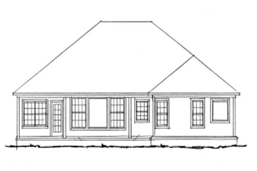 Home Plan Rear Elevation of this 3-Bedroom,1808 Sq Ft Plan -178-1127