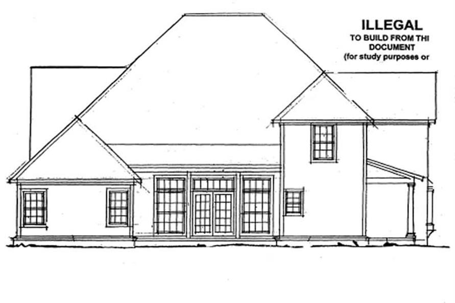 Home Plan Rear Elevation of this 4-Bedroom,3188 Sq Ft Plan -178-1139