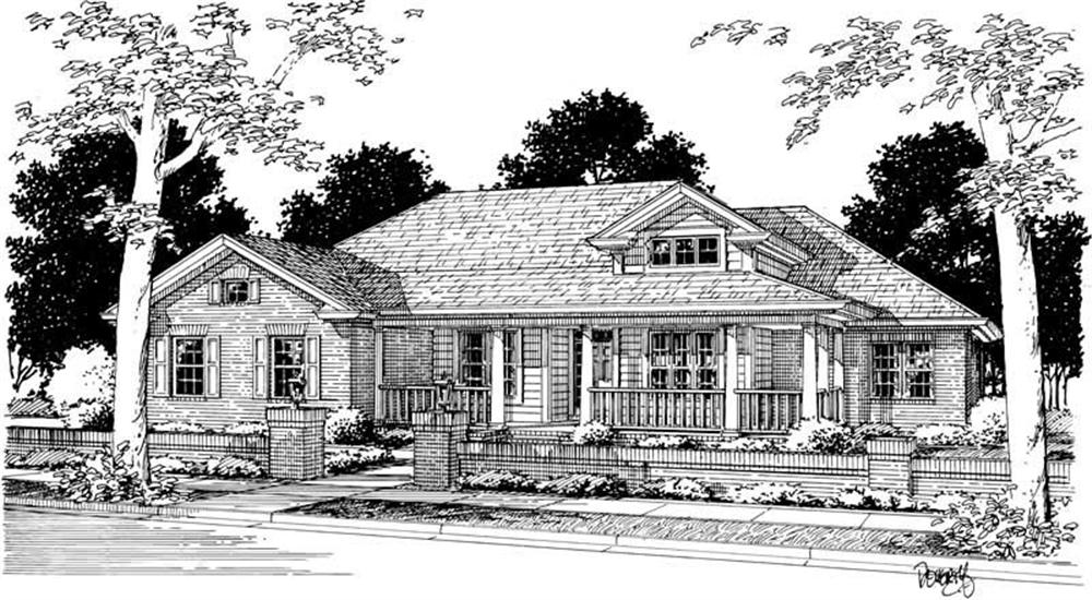 Front elevation of Ranch home (ThePlanCollection: House Plan #178-1143)