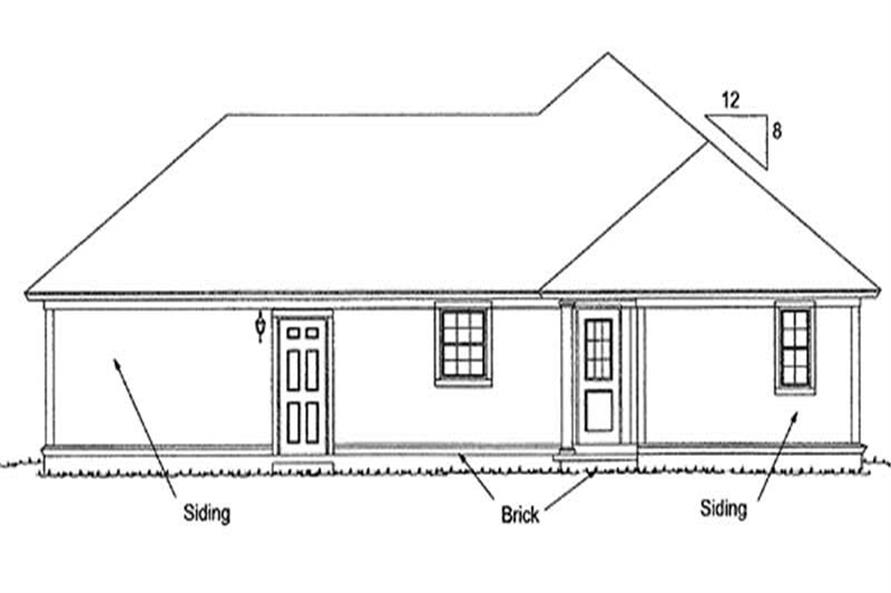 Home Plan Rear Elevation of this 3-Bedroom,1271 Sq Ft Plan -178-1145