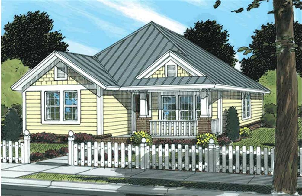 Front elevation of Bungalow home (ThePlanCollection: House Plan #178-1146)