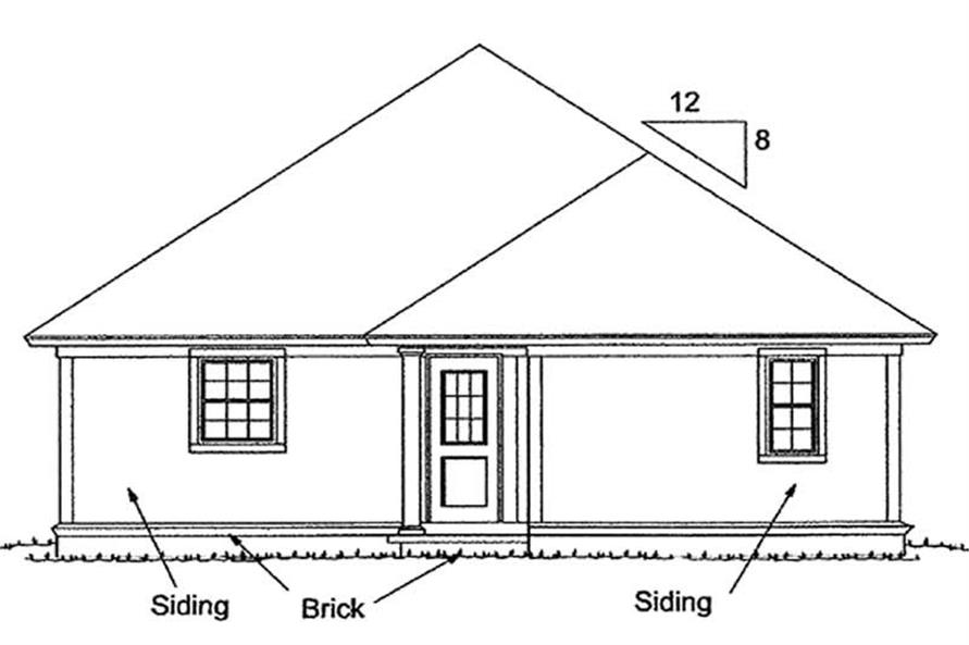 Home Plan Rear Elevation of this 3-Bedroom,1271 Sq Ft Plan -178-1146
