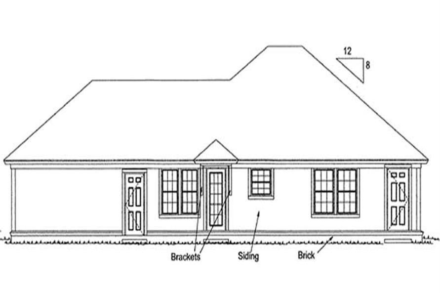 Home Plan Rear Elevation of this 3-Bedroom,1286 Sq Ft Plan -178-1147