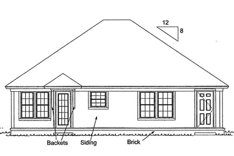 Home Plan Rear Elevation of this 3-Bedroom,1286 Sq Ft Plan -178-1148
