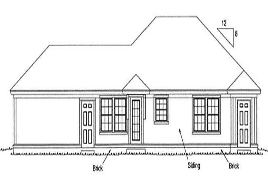 Home Plan Rear Elevation of this 4-Bedroom,1481 Sq Ft Plan -178-1149
