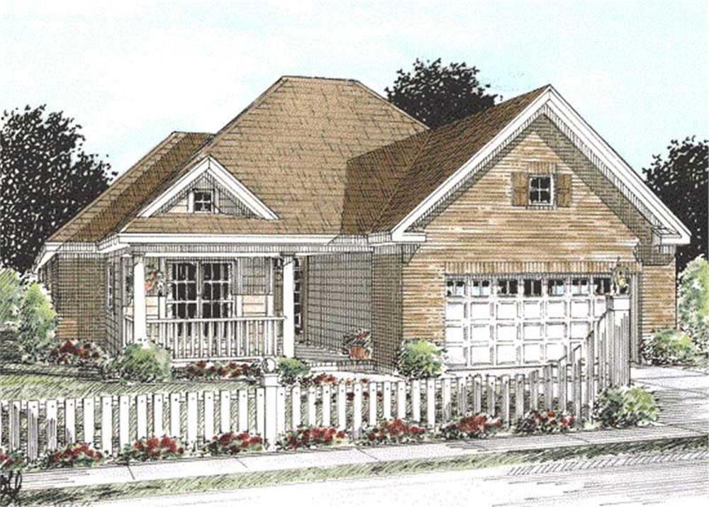 Front elevation of Ranch home (ThePlanCollection: House Plan #178-1152)