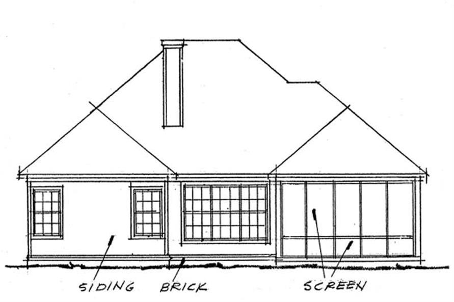 Home Plan Rear Elevation of this 2-Bedroom,1274 Sq Ft Plan -178-1152