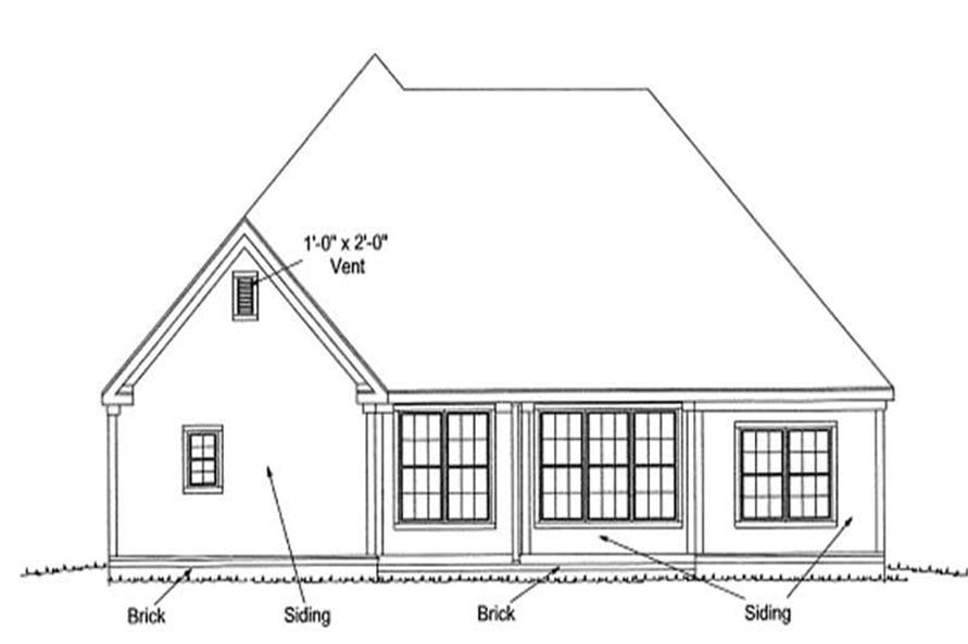 Home Plan Rear Elevation of this 3-Bedroom,1595 Sq Ft Plan -178-1153