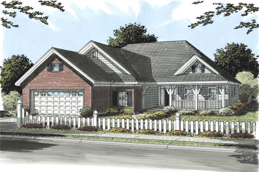 3-Bedroom, 1416 Sq Ft Country Home Plan - 178-1154 - Main Exterior