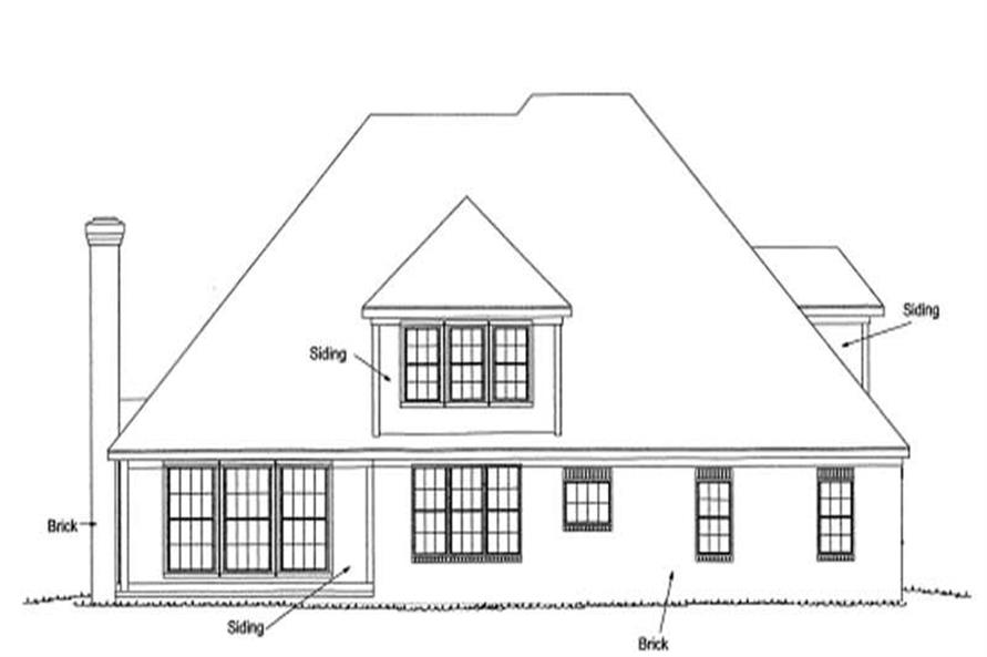Home Plan Rear Elevation of this 4-Bedroom,3451 Sq Ft Plan -178-1157