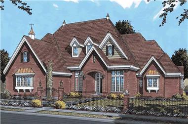European house plans color elevation.