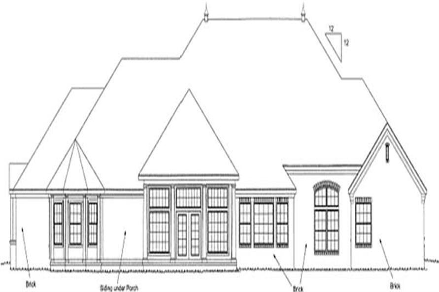 Home Plan Rear Elevation of this 4-Bedroom,4095 Sq Ft Plan -178-1158