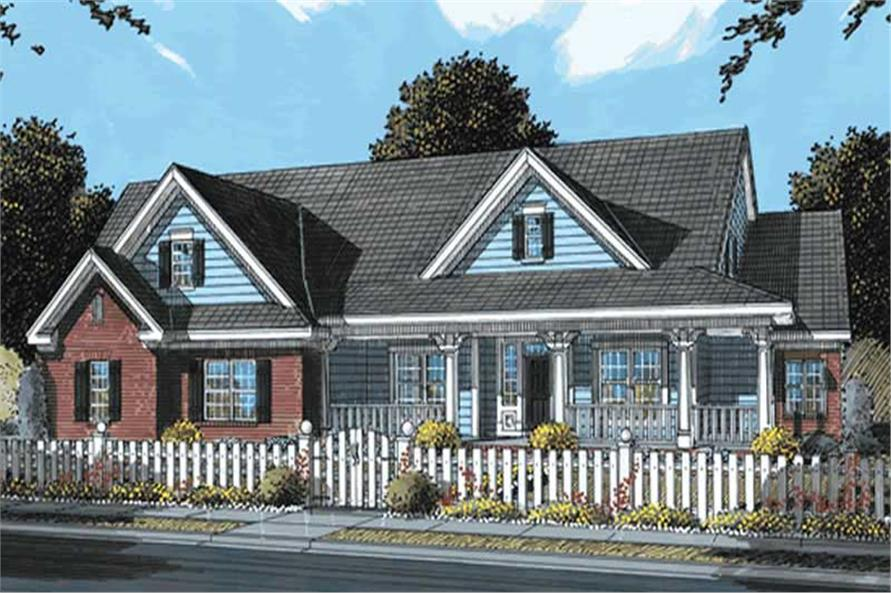4-Bedroom, 3408 Sq Ft Country Home Plan - 178-1159 - Main Exterior