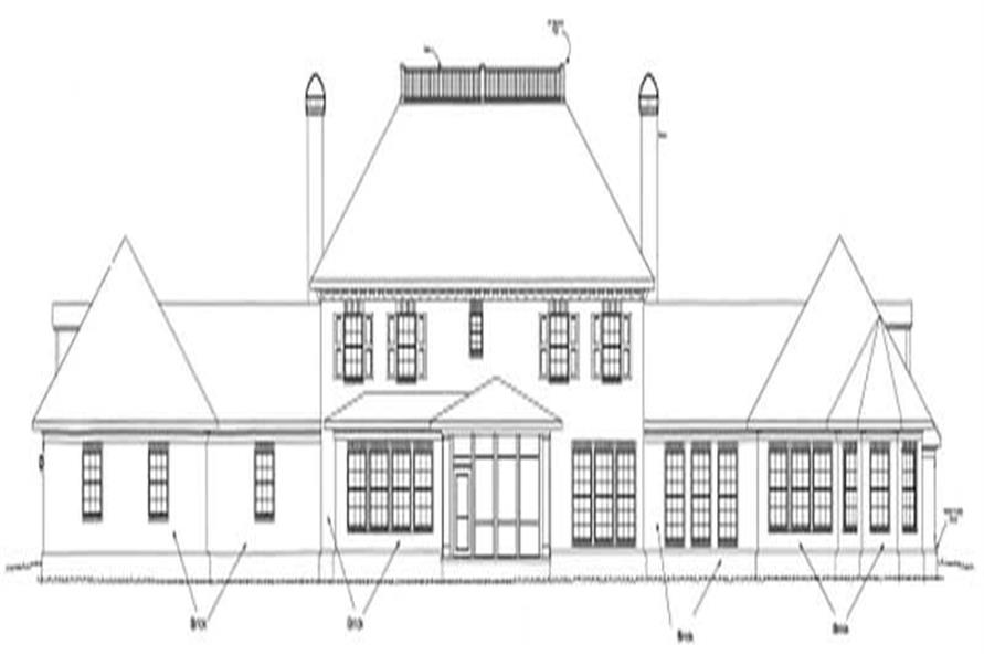 Home Plan Rear Elevation of this 4-Bedroom,5933 Sq Ft Plan -178-1160