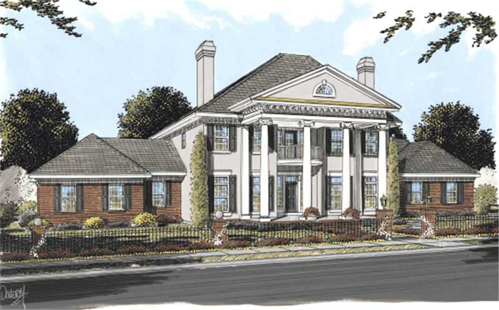 Colonial house plans color elevation.