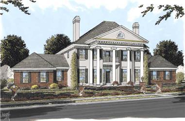 Colonial house plans color elevation.