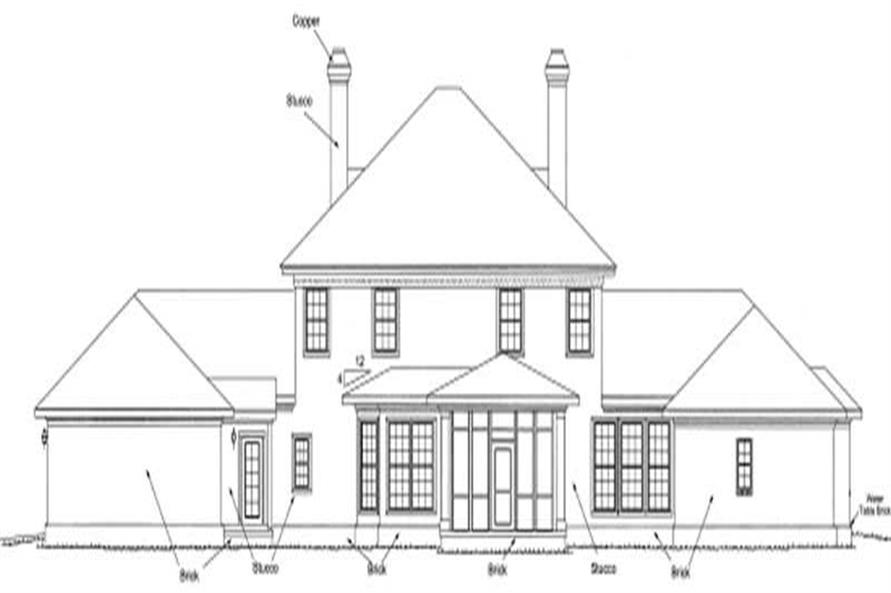 Home Plan Rear Elevation of this 4-Bedroom,4166 Sq Ft Plan -178-1161