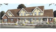 This image shows the front elevation of these Country House Plans, Farmhouse House Plans, 1-1/2 Story House Plans.