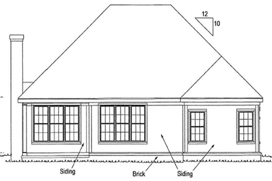 Home Plan Rear Elevation of this 3-Bedroom,1362 Sq Ft Plan -178-1163