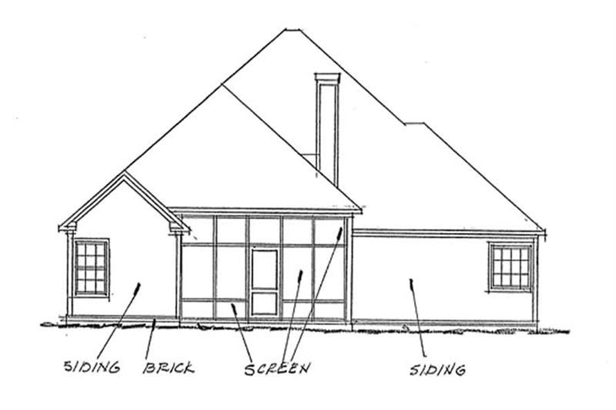 Home Plan Rear Elevation of this 3-Bedroom,2116 Sq Ft Plan -178-1164
