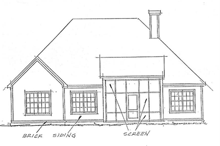 Home Plan Rear Elevation of this 3-Bedroom,1780 Sq Ft Plan -178-1166
