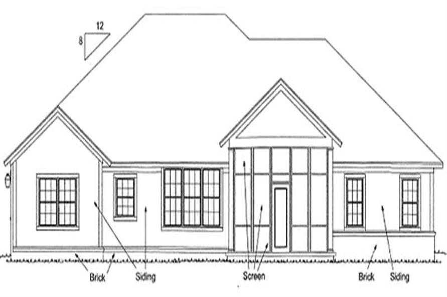 Home Plan Rear Elevation of this 3-Bedroom,2194 Sq Ft Plan -178-1173
