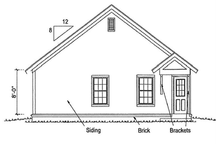 Home Plan Rear Elevation of this 3-Bedroom,1260 Sq Ft Plan -178-1174