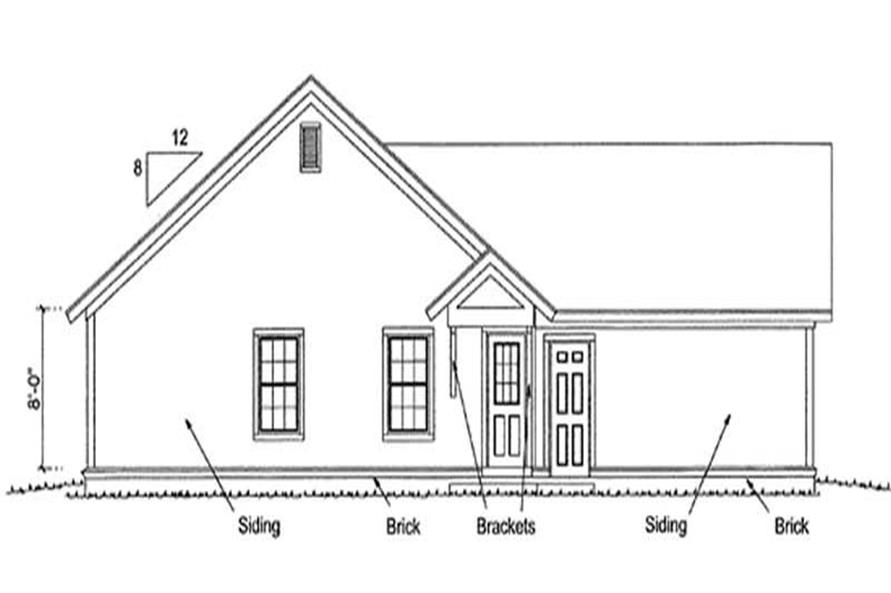 Home Plan Rear Elevation of this 3-Bedroom,1260 Sq Ft Plan -178-1175