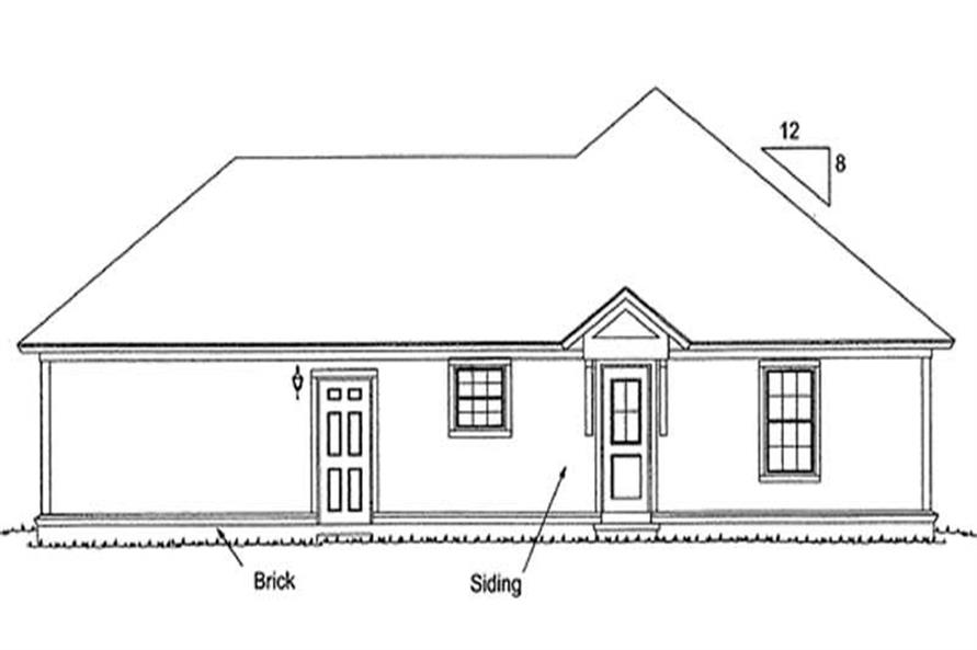 Home Plan Rear Elevation of this 3-Bedroom,1376 Sq Ft Plan -178-1177