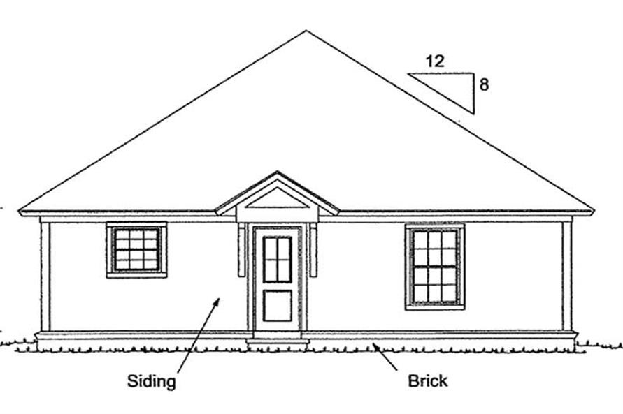 Home Plan Rear Elevation of this 3-Bedroom,1376 Sq Ft Plan -178-1178