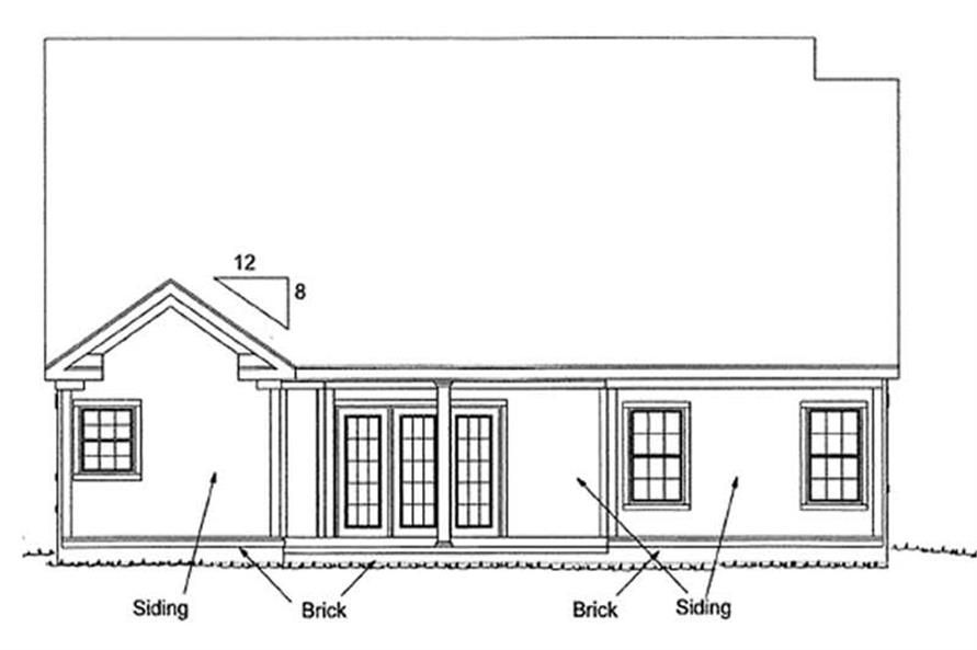 Home Plan Rear Elevation of this 2-Bedroom,1645 Sq Ft Plan -178-1180