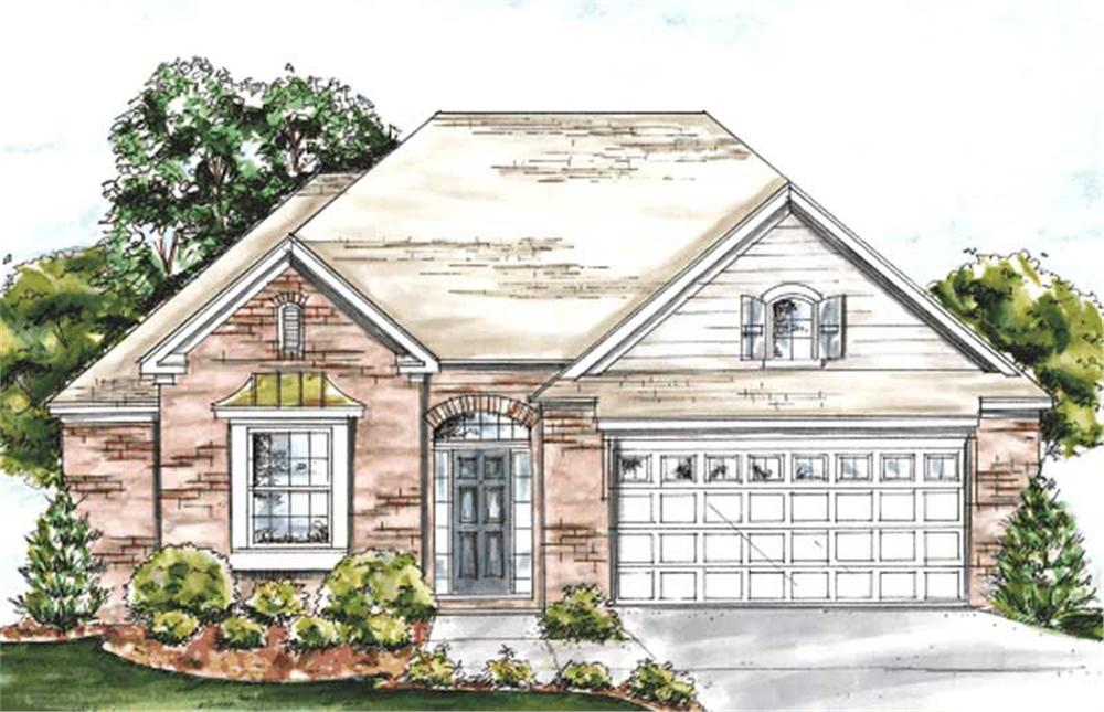 Front elevation of Ranch home (ThePlanCollection: House Plan #178-1181)