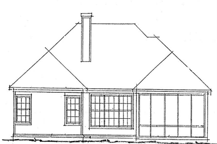 Home Plan Rear Elevation of this 2-Bedroom,1274 Sq Ft Plan -178-1181