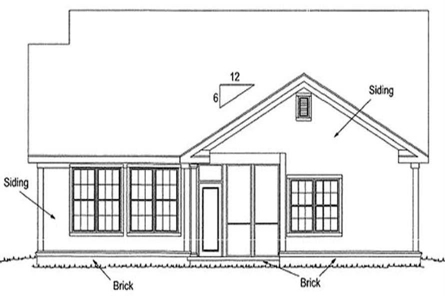 Home Plan Rear Elevation of this 3-Bedroom,1812 Sq Ft Plan -178-1182