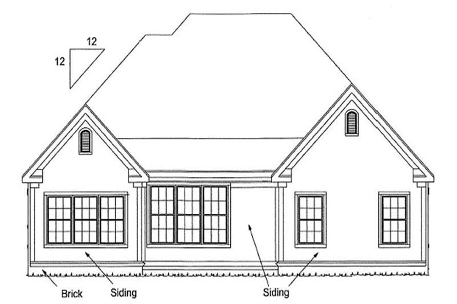 Home Plan Rear Elevation of this 3-Bedroom,1732 Sq Ft Plan -178-1189