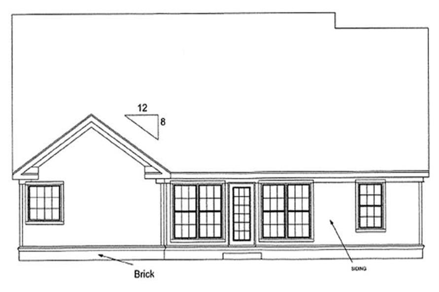 Home Plan Rear Elevation of this 3-Bedroom,1812 Sq Ft Plan -178-1190