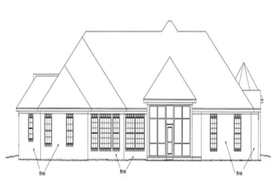 Home Plan Rear Elevation of this 4-Bedroom,4121 Sq Ft Plan -178-1192