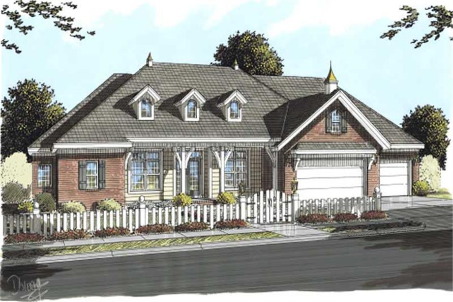 Front elevation of Cape Cod home (ThePlanCollection: House Plan #178-1193)