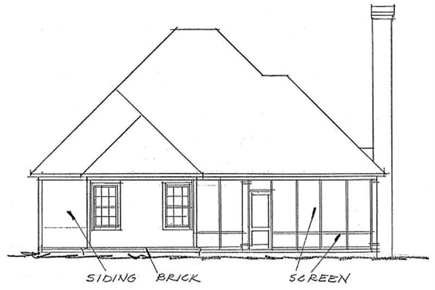 Home Plan Rear Elevation of this 2-Bedroom,1425 Sq Ft Plan -178-1195