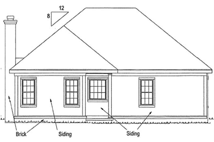 Home Plan Rear Elevation of this 4-Bedroom,1560 Sq Ft Plan -178-1197