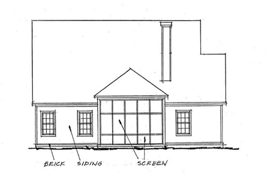 Home Plan Rear Elevation of this 3-Bedroom,1692 Sq Ft Plan -178-1199