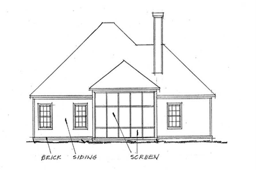 Home Plan Rear Elevation of this 3-Bedroom,1692 Sq Ft Plan -178-1200