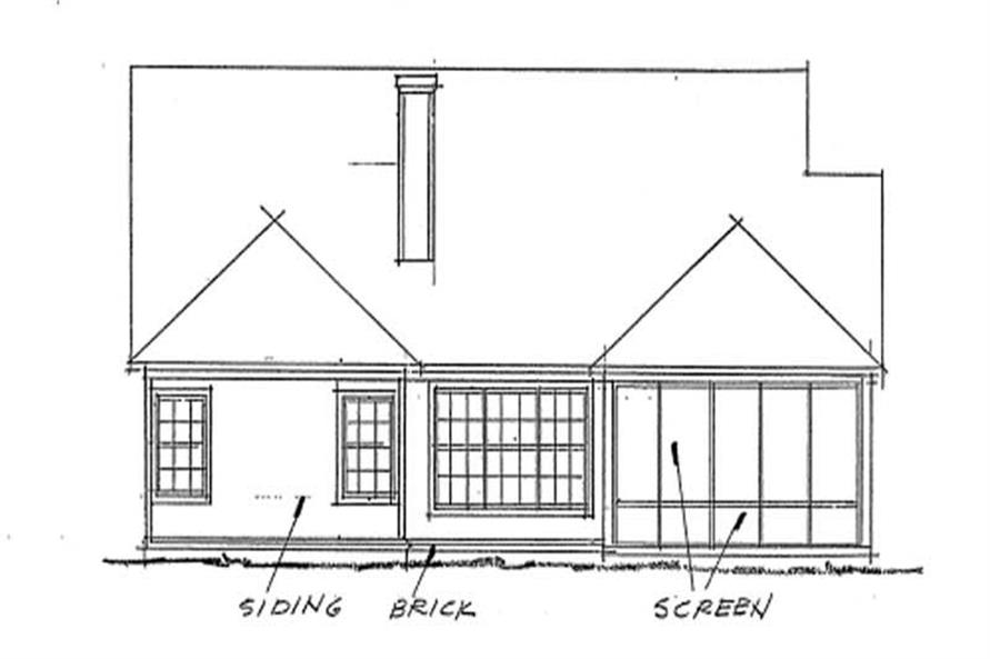 Home Plan Rear Elevation of this 2-Bedroom,1274 Sq Ft Plan -178-1204