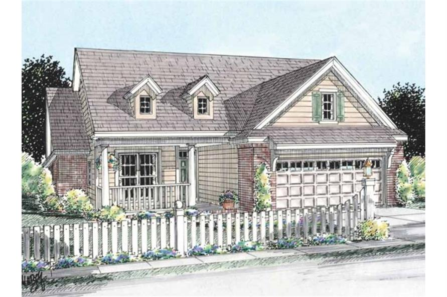 178-1204 front rendering of this cottage style plan.