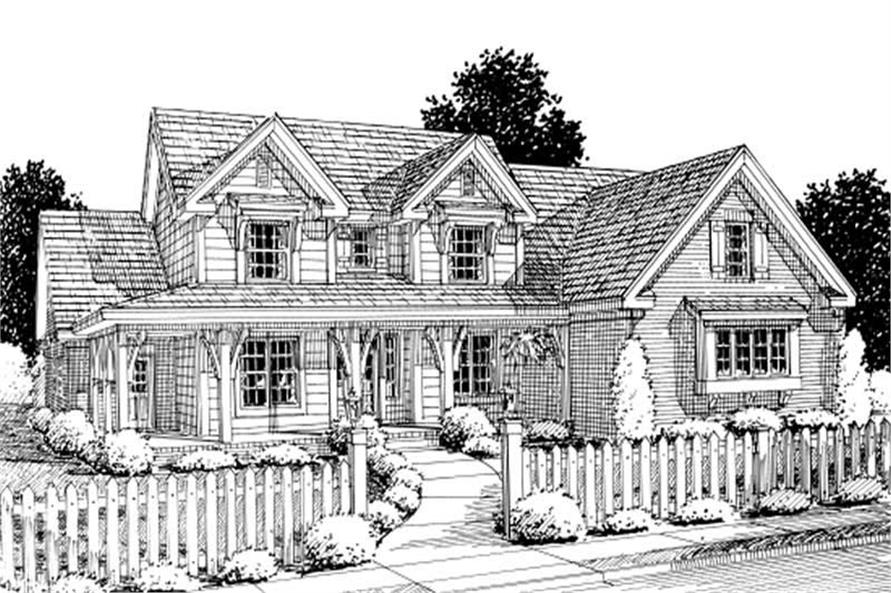 4-Bedroom, 2924 Sq Ft Country House Plan - 178-1206 - Front Exterior