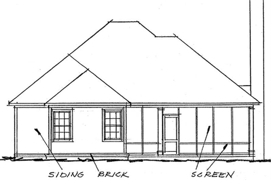 Home Plan Rear Elevation of this 2-Bedroom,1425 Sq Ft Plan -178-1209
