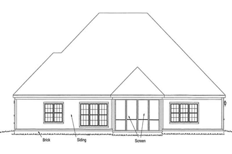 Home Plan Rear Elevation of this 4-Bedroom,2694 Sq Ft Plan -178-1211