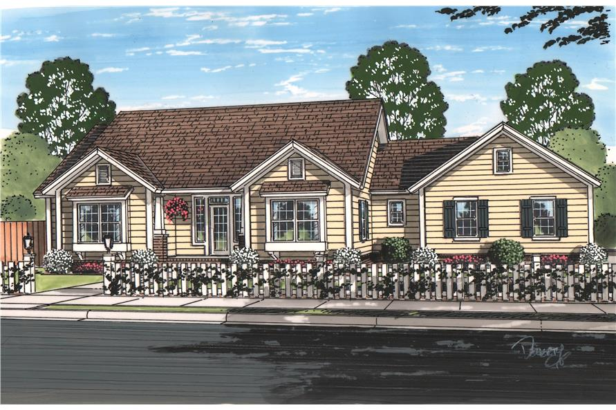 Front elevation of Cottage home (ThePlanCollection: House Plan #178-1212)