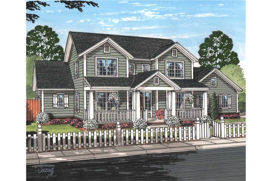 Front elevation of Cottage home (ThePlanCollection: House Plan #178-1213)