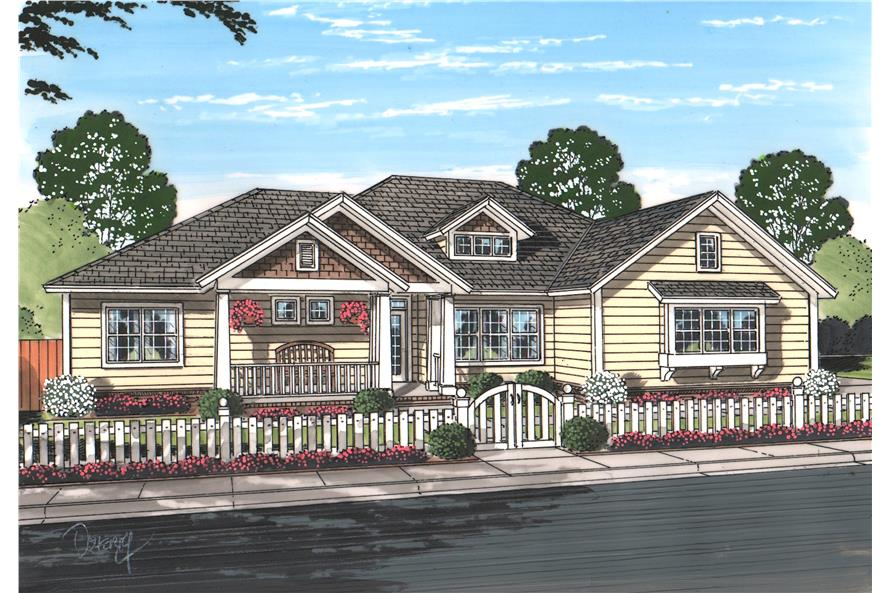 Front elevation of Cottage home (ThePlanCollection: House Plan #178-1214)